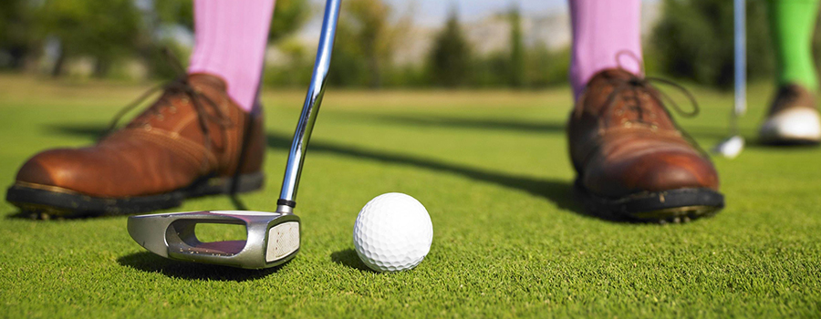 Golfing on the putting green