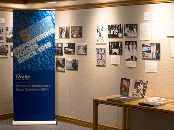 An exhibit tracing the history of JMC education at Drake is on display in the Collier Heritage Room on the second floor of Cowles Library.